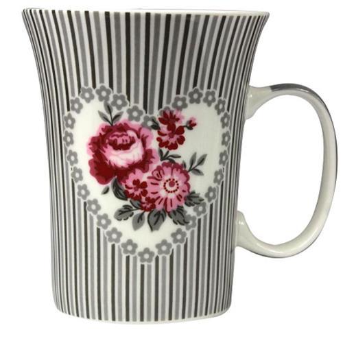 Kubek Porcelanowy W Paski i Róże 370ml 9537 CH
