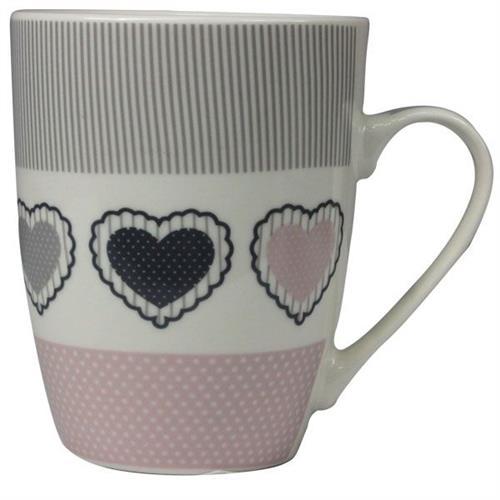 Kubek Porcelanowy Serca Różo-Szary 345ml 9513 CH