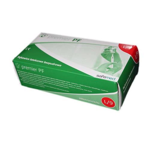 Rękawice lateksowe bezpudrowe Premium L Kolor mleczny 100szt