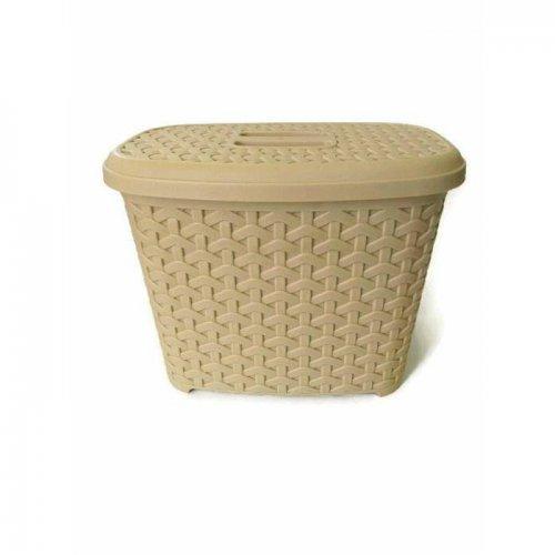 Pojemnik Na Detergenty Z Pokrywą Rattan 6l 9233 Kremowy