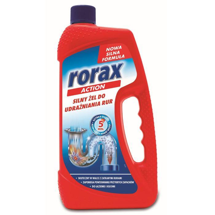 Płyny do WC lub łazienki oraz koszyki zapachowe - Rorax Action Żel Do Udrożniania Rur 1000ml Czerwony -