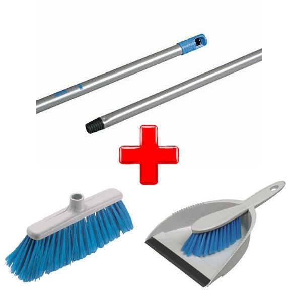 Zestawy sprzątające - Vileda Zestaw Miotla Eco  + Drążek + Szufelka Ze zmiotką -