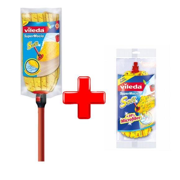 Zestawy sprzątające - Vileda Zestaw Soft mop z drążkiem + wkład -