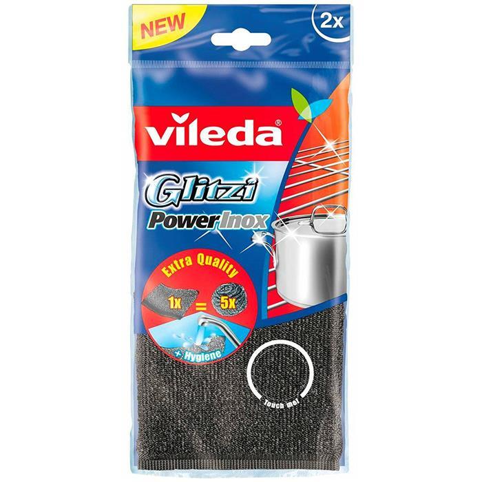 Druciaki, czyściki, zmywaki - Vileda Zmywak Inox Glitzi Power Pad 2szt 141656 -