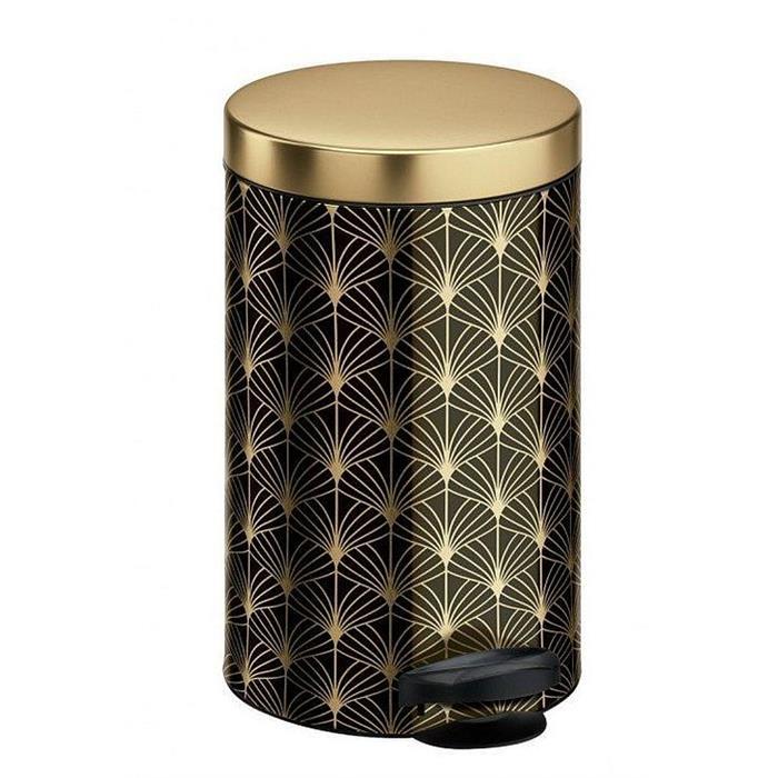 Kosze do segregacji śmieci - Kosz Na Śmieci Na Pedał New Line 14l Art Deco Złoty Meliconi -
