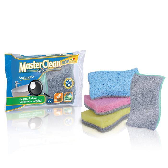 Druciaki, czyściki, zmywaki - Arix Master Clean Zmywak Celuloza Nierysujący 2szt T112780 -