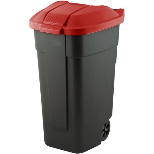 Pojemnik Kosz Na Śmieci Na Kółkach 110l Czerwony 214126 Curver