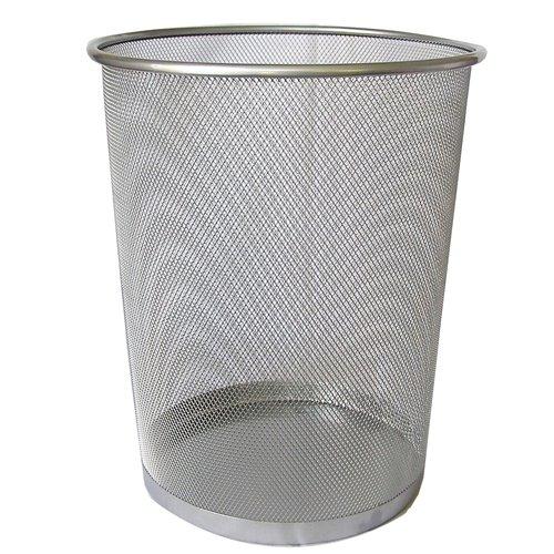 Kosz Metalowy Na Śmieci 15l Srebrny Okrągły Siatka F