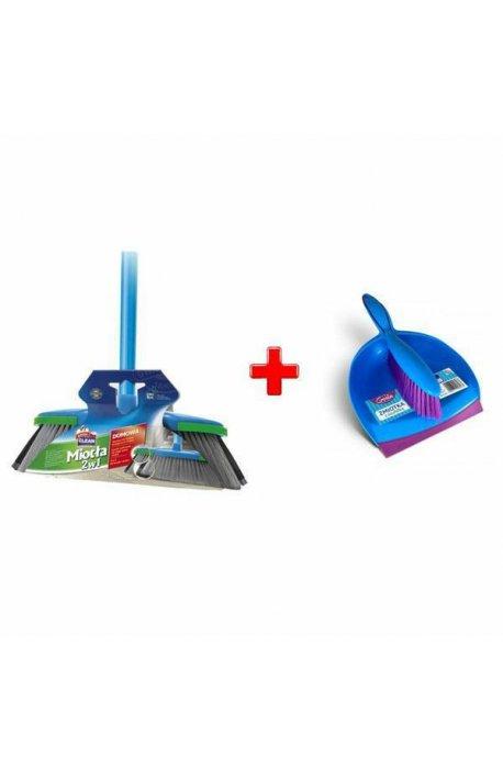 Zestawy sprzątające - Zestaw Miotła 2w1 Z Drążkiem + Szufelka Ze Zmiotką Niebieska  Gosia -
