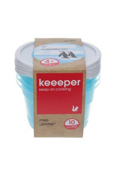Pojemniki do żywności - Komplet Pojemników Polar Okrągłych 4x0,8l 3069 Keeeper -