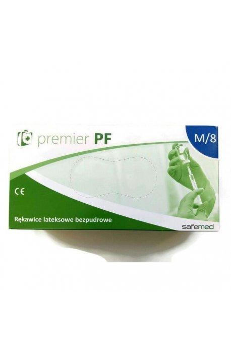 Rękawice - Rękawice lateksowe bezpudrowe Premium M Kolor mleczny 100szt -