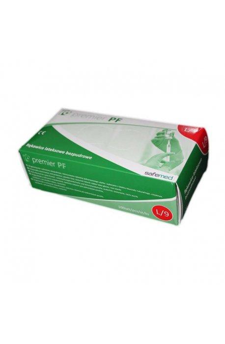 Rękawice - Rękawice lateksowe bezpudrowe Premium L Kolor mleczny 100szt -