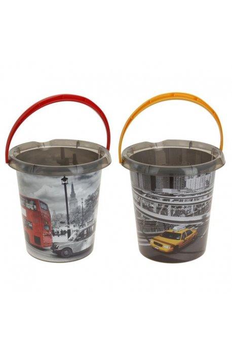 Wiadra - Wiadro Plastik 12l Z Nadrukiem New York Londyn H -