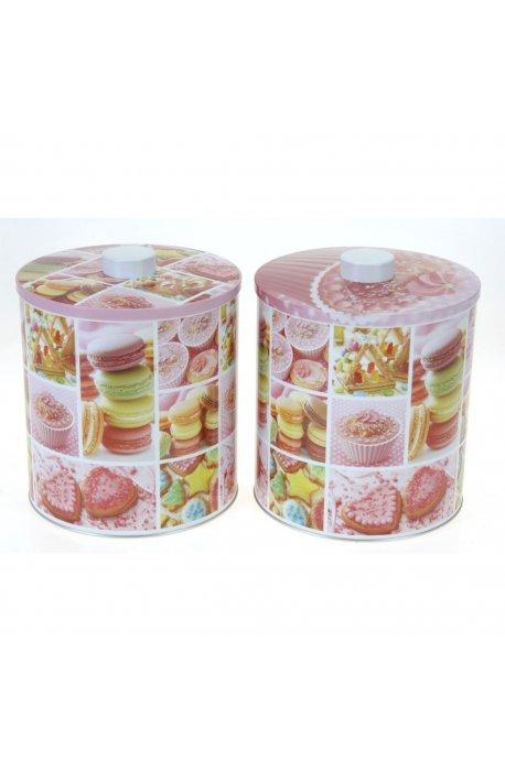 Puszki, koszyki - Puszka Na Słodycze Różowa 2 Wzory H  -