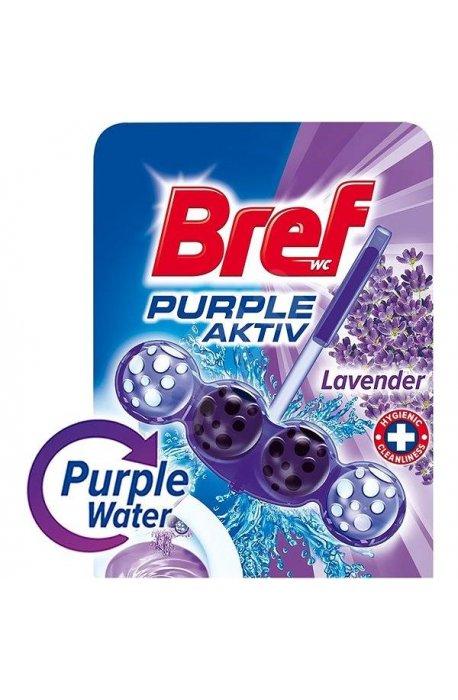 Płyny do WC lub łazienki oraz koszyki zapachowe - Zawieszka Barwiąca Lavenda 50g Bref -