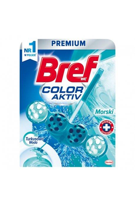 Płyny do WC lub łazienki oraz koszyki zapachowe - Zawieszka Barwiąca Morski 50g Bref -