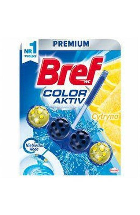 Płyny do WC lub łazienki oraz koszyki zapachowe - Zawieszka Barwiąca Lemon 50g Bref -