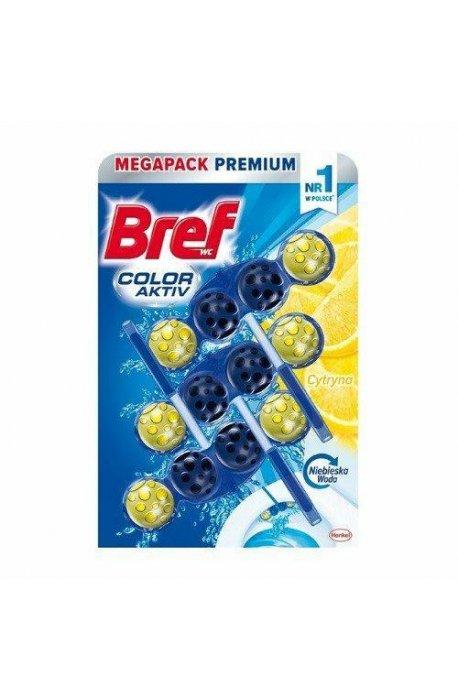 Płyny do WC lub łazienki oraz koszyki zapachowe - Zawieszka Do Wc Barwiący 3x50g Lemon Bref -