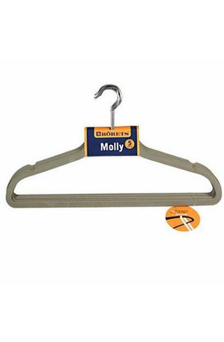 Pokrowce i wieszaki na ubrania - Wieszaki na ubrania Molly 5szt Szary 294302  Rorets -