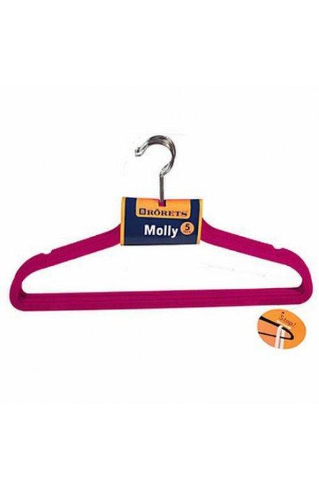Pokrowce i wieszaki na ubrania - Wieszaki na ubrania Molly 5szt Fuksja 294304  Rorets -