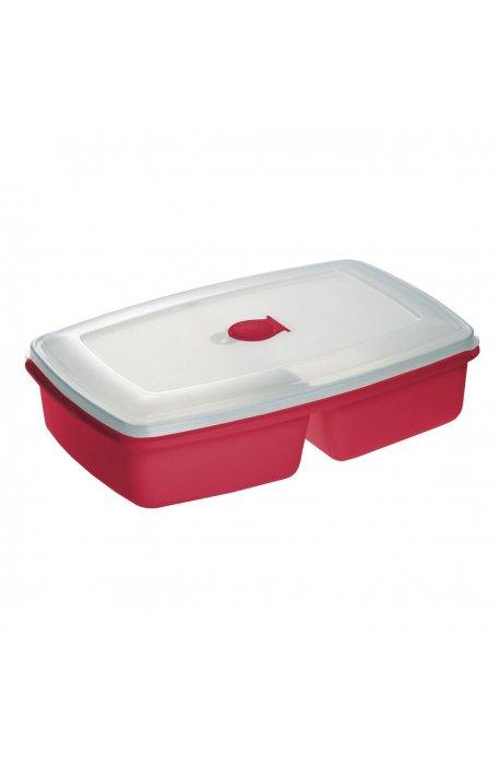 Pojemniki do żywności - Pojemnik Do Mikrofalówki Podwójny Czerwony 3104 Plast Team -
