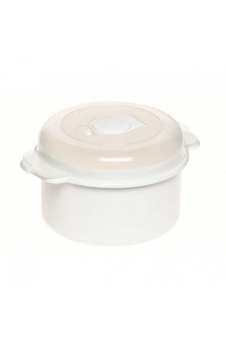 Pojemniki do żywności - Pojemnik Do Mikrofalówki 0,5l 3106 Okrągły Biały Plast Team -