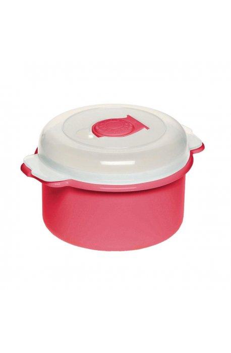 Pojemniki do żywności - Pojemnik Do Mikrofalówki 0,5l 3106 Okrągły Czerwony Plast Team -