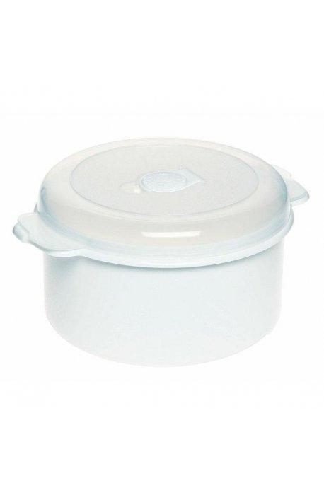 Pojemniki do żywności - Pojemnik Do Mikrofalówki 1,5l 3107 Okrągły Biały Plast Team -