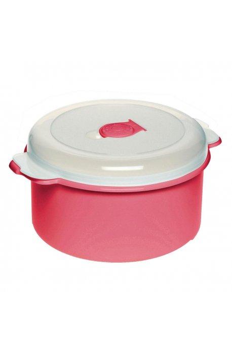 Pojemniki do żywności - Pojemnik Do Mikrofalówki 1,5l 3107 Okrągły Czerwony Plast Team -