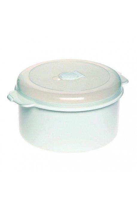 Pojemniki do żywności - Pojemnik Do Mikrofalówki 2l 3108 Okrągły Biały Plast Team -