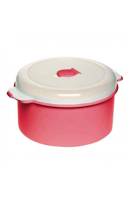 Pojemniki do żywności - Pojemnik Do Mikrofalówki 2l 3108 Okrągły Czerwony Plast Team -