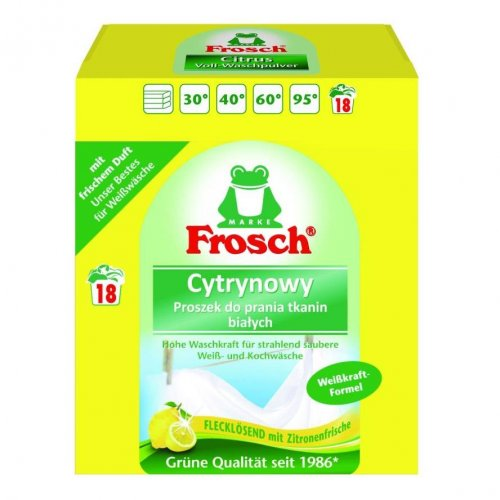 Proszek Do Prania Tkanin Białych Cytrynowy 1,35kg Frosch