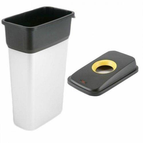 Kosz metalizowany 55l Geo 137660 + pokrywa czarno-żółta Plastik 137665 Vileda Professional