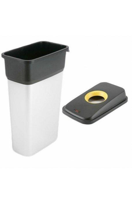 Kosze do segregacji śmieci - Kosz metalizowany 55l Geo 137660 + pokrywa czarno-żółta Plastik 137665 Vileda Professional