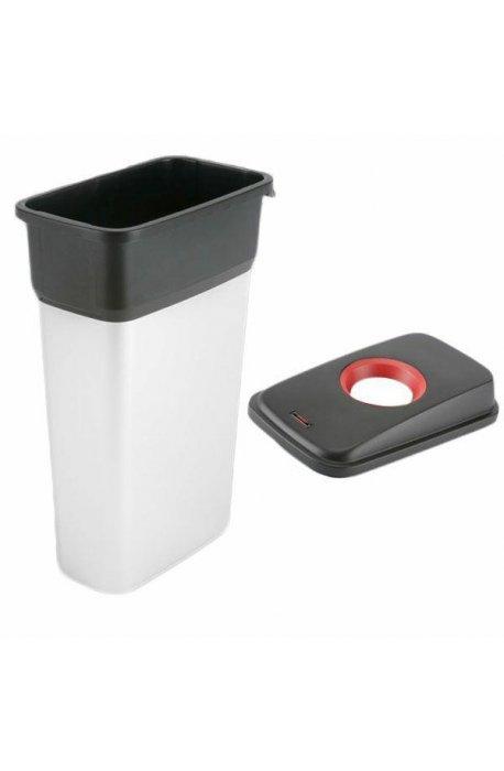 Kosze do segregacji śmieci - Kosz metalizowany 55l Geo 137660 + pokrywa czarno-czerwona Metal 137664 Vileda Professional
