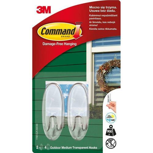 Haki Na Drzwi 2szt Command Outdoor Plastikowe Transparentne 17091 3M