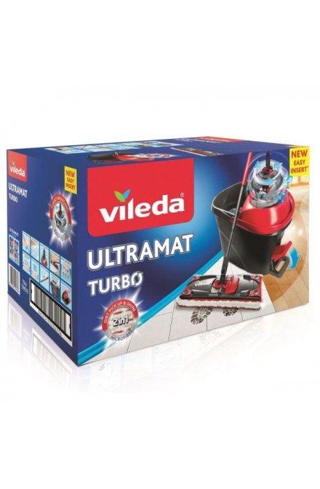 Zestawy sprzątające - Vileda Ultramat Turbo Płaski 163425 Zestaw Mop + Wiadro -