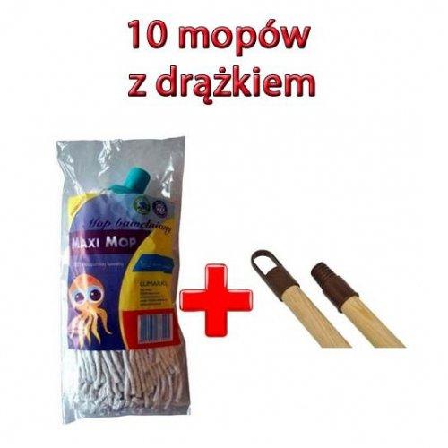 Zestaw 10 Mopów Maxi + 10 Drążków Drewnianych 130cm