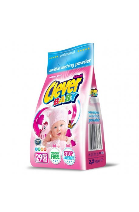 Proszki i pojemniki do prania - Proszek Clever Baby 2,2kg Folia Clovin -