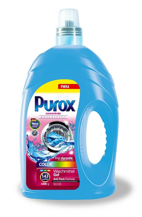 Żele, płyny do prania i płukania - Purox Płyn Do Prania 4,3l Color Clovin -
