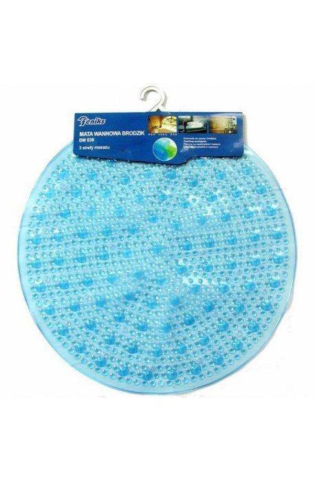 Maty łazienkowe, zasłony, dywaniki - Mata Antypoślizgowa Bm 038 Niebieska Okrągła Średnica 50cm F -