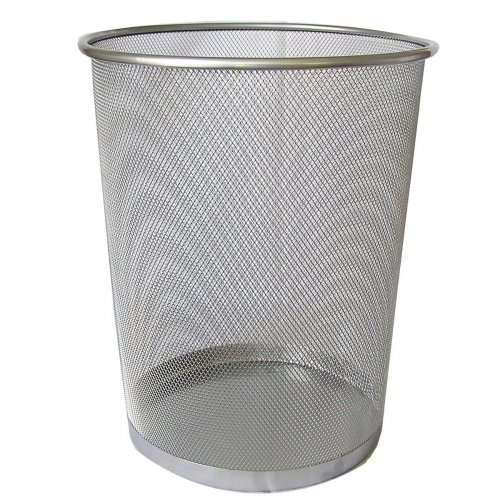 Kosz Metalowy Na Śmieci 20l Srebrny Okrągły Siatka F