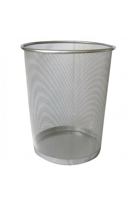 Kosze biurowe - Kosz Metalowy Na Śmieci 15l Srebrny Okrągły Siatka F -