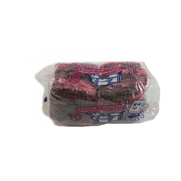 Druciaki, czyściki, zmywaki - Czyścik Z Wełny Metalowej Nasączony Mydłem 10szt 6614 R -