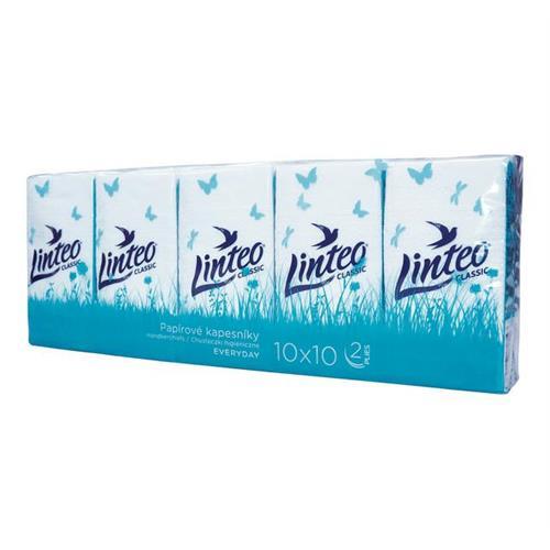 Chusteczki Higieniczne Classic 10x10szt 2 Warstwowe Linteo