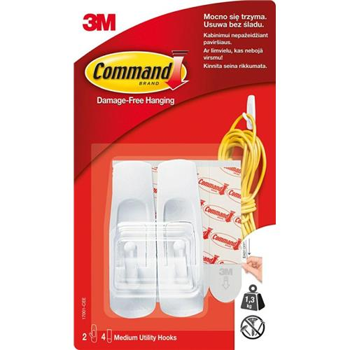 3M Command 2 Haki Wielokrotnego Użytku Białe + 4 Paski 17001-CEE